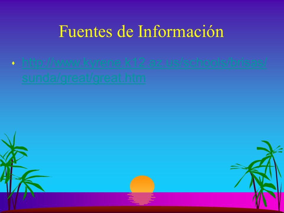 Fuentes de Información s http://www.kyrene.k12.az.us/schools/brisas/ sunda/great/great.htm http://www.kyrene.k12.az.us/schools/brisas/ sunda/great/great.htm