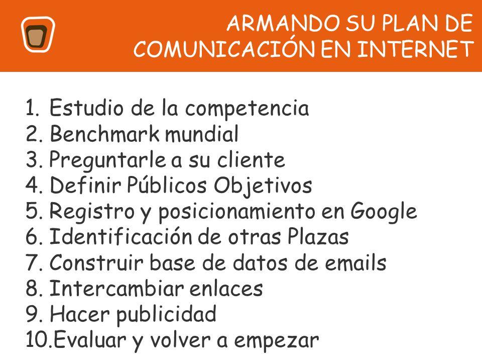 1.Estudio de la competencia 2.Benchmark mundial 3.Preguntarle a su cliente 4.Definir Públicos Objetivos 5.Registro y posicionamiento en Google 6.Ident
