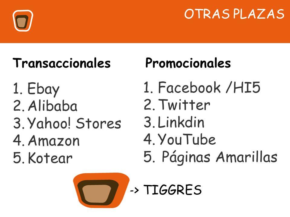 1.Ebay 2.Alibaba 3.Yahoo! Stores 4.Amazon 5.Kotear OTRAS PLAZAS 1.Facebook /HI5 2.Twitter 3.Linkdin 4.YouTube 5. Páginas Amarillas Transaccionales Pro