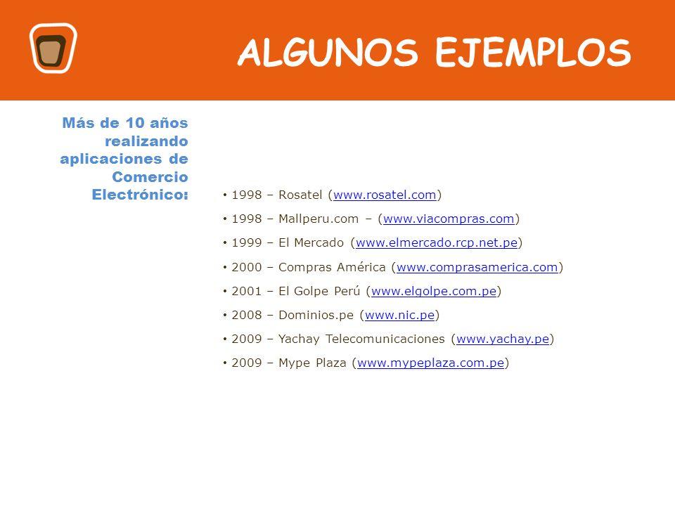 HOLA ALGUNOS EJEMPLOS 1998 – Rosatel (www.rosatel.com)www.rosatel.com 1998 – Mallperu.com – (www.viacompras.com)www.viacompras.com 1999 – El Mercado (