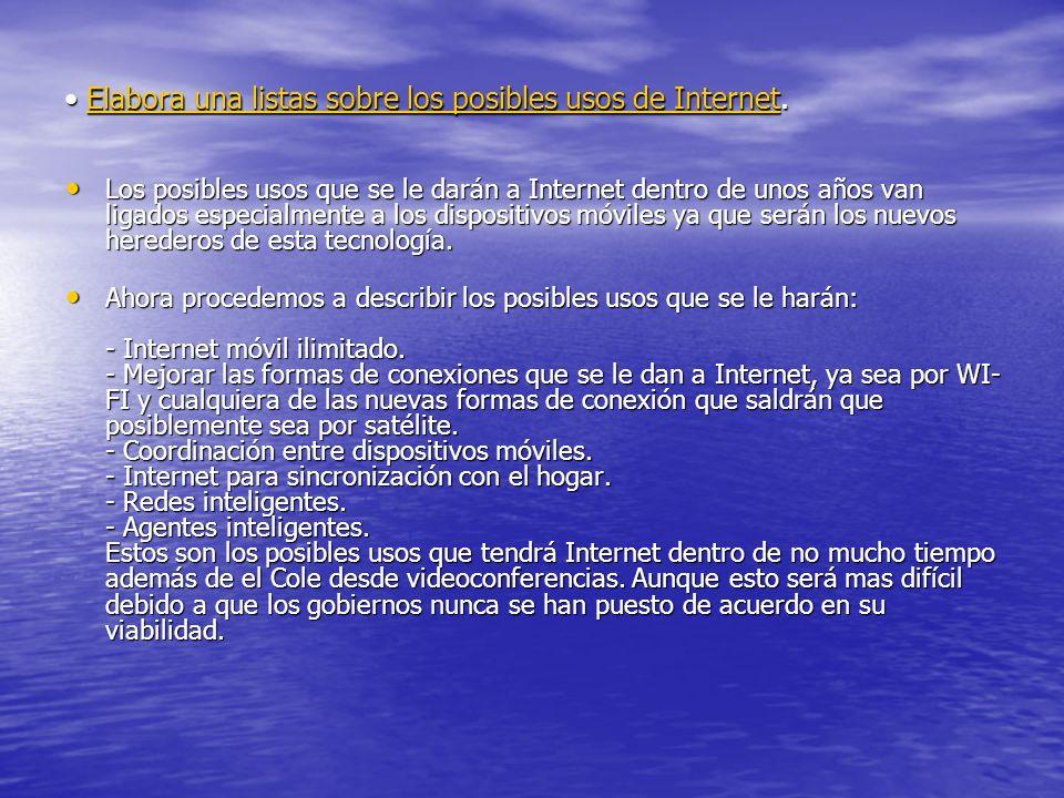 Elabora una listas sobre los posibles usos de Internet. Elabora una listas sobre los posibles usos de Internet.Elabora una listas sobre los posibles u