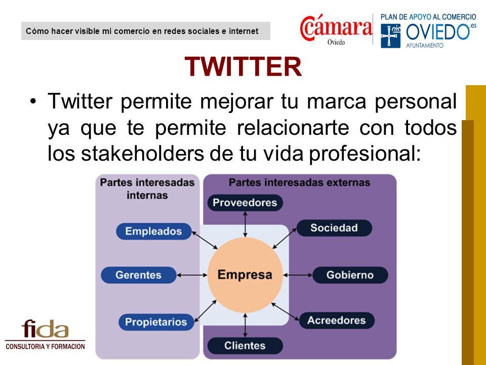 Twitter permite mejorar tu marca personal ya que te permite relacionarte con todos los stakeholders de tu vida profesional: TWITTER Cómo hacer visible mi comercio en redes sociales e internet