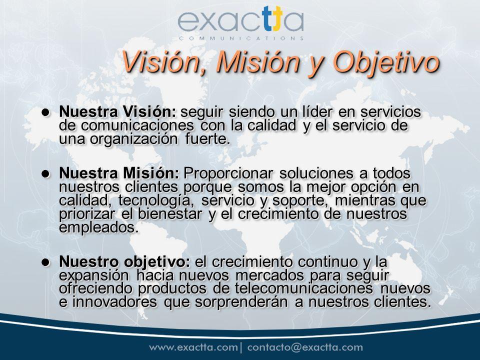 Visión, Misión y Objetivo Nuestra Visión: seguir siendo un líder en servicios de comunicaciones con la calidad y el servicio de una organización fuerte.
