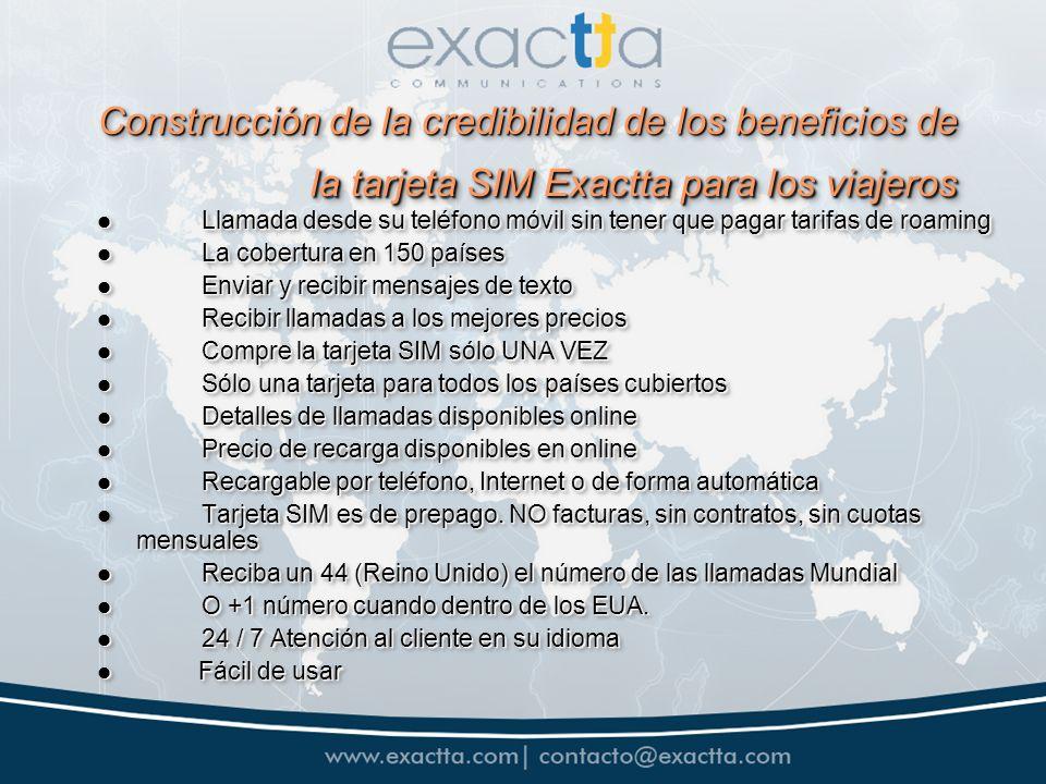 Construcción de la credibilidad de los beneficios de la tarjeta SIM Exactta para los viajeros Construcción de la credibilidad de los beneficios de la