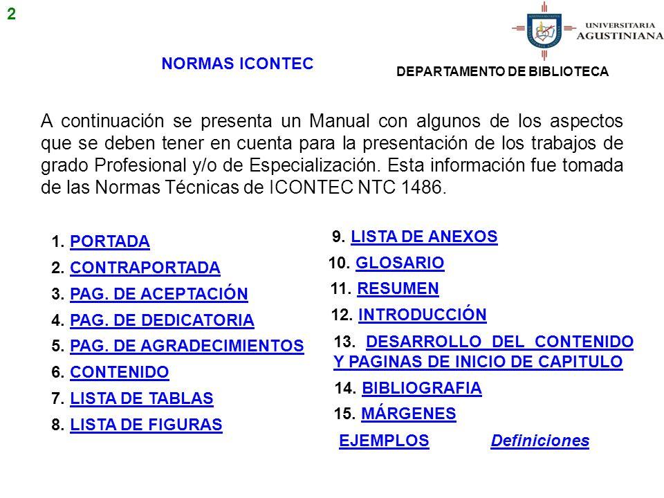 EJEMPLOS PRESENTACIÓN CRÉDITOS UNIVERSITARIOS Especialización Ecológica INICIO 43 DEPARTAMENTO DE BIBLIOTECA UNIVERSITARIA AGUSTINIANA FACULTAD DE XXXXXXXX ESPECIALIZACION DE XXXXXXXX BOGOTA 2010