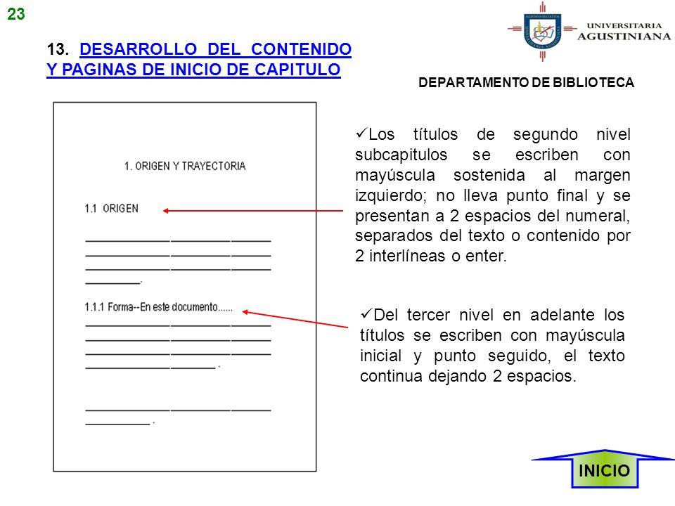 13. DESARROLLO DEL CONTENIDO Y PAGINAS DE INICIO DE CAPITULO Los títulos de segundo nivel subcapitulos se escriben con mayúscula sostenida al margen i