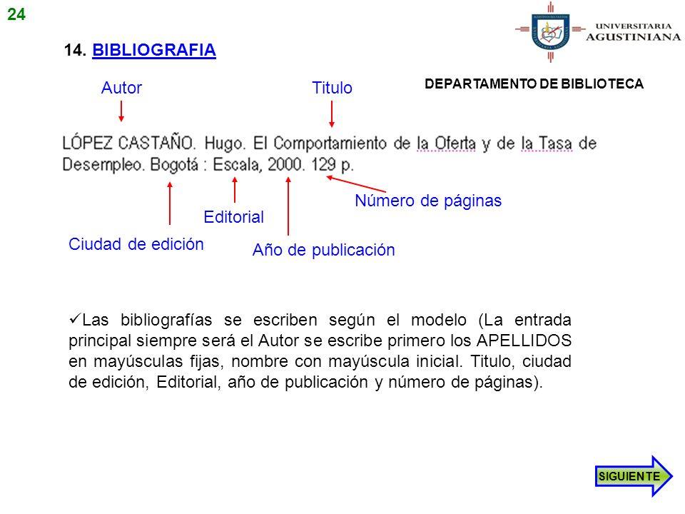 14. BIBLIOGRAFIA Las bibliografías se escriben según el modelo (La entrada principal siempre será el Autor se escribe primero los APELLIDOS en mayúscu