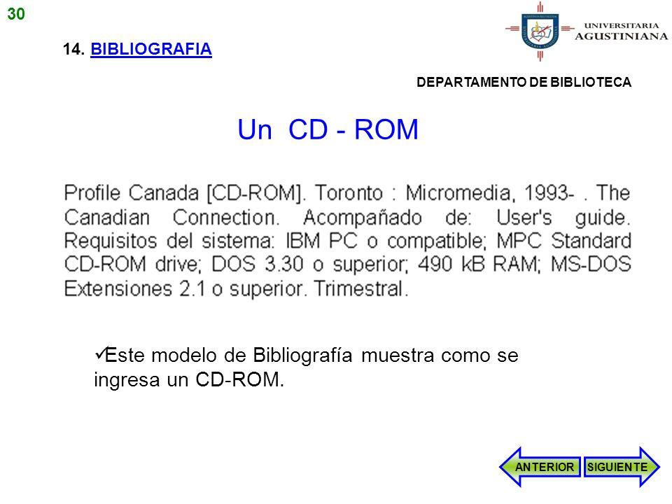 14. BIBLIOGRAFIA Este modelo de Bibliografía muestra como se ingresa un CD-ROM. ANTERIORSIGUIENTE Un CD - ROM 30 DEPARTAMENTO DE BIBLIOTECA