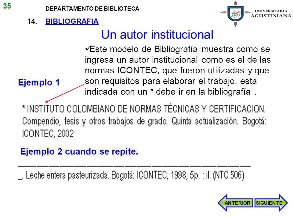 14. BIBLIOGRAFIA Este modelo de Bibliografía muestra como se ingresa un autor institucional como es el de las normas ICONTEC, que fueron utilizadas y