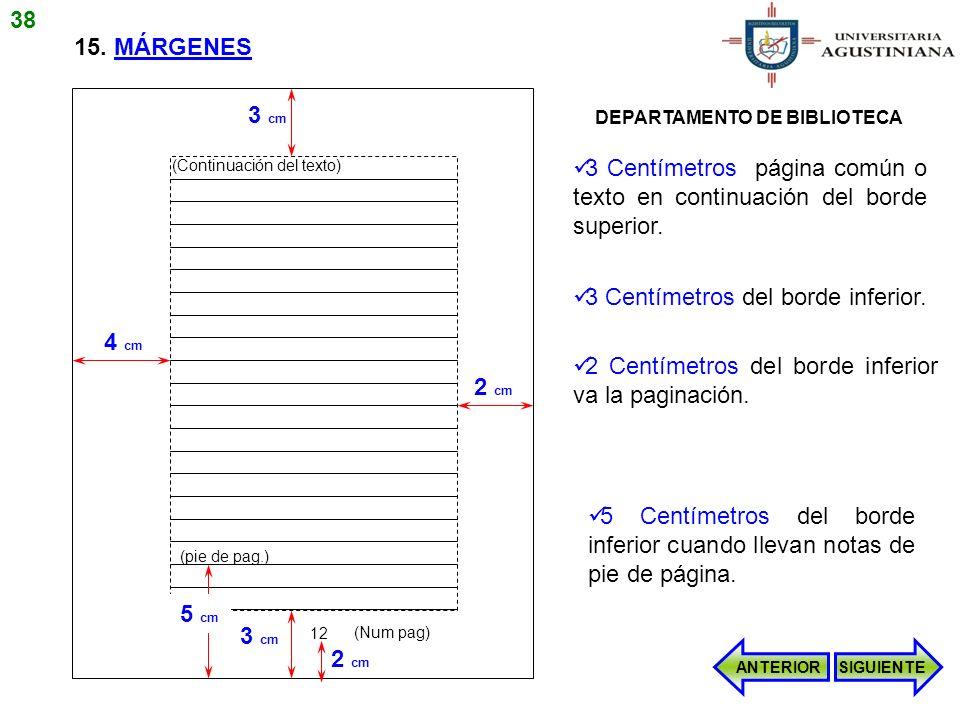 15. MÁRGENES 3 cm 2 cm 4 cm (Continuación del texto) 3 cm 12 (Num pag) 2 cm (pie de pag.) 5 cm 3 Centímetros página común o texto en continuación del