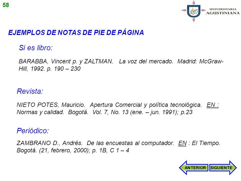 EJEMPLOS DE NOTAS DE PIE DE PÁGINA BARABBA, Vincent p. y ZALTMAN. La voz del mercado. Madrid: McGraw- Hill, 1992. p. 190 – 230 NIETO POTES, Mauricio.