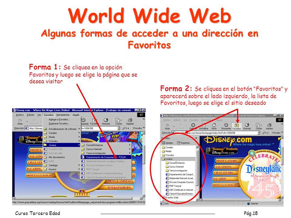 Curso Tercera Edad Pág.18 Forma 1: Se cliquea en la opción Favoritos y luego se elige la página que se desea visitar Forma 2: Se cliquea en el botón Favoritos y aparecerá sobre el lado izquierdo, la lista de Favoritos, luego se elige el sitio deseado World Wide Web Algunas formas de acceder a una dirección en Favoritos