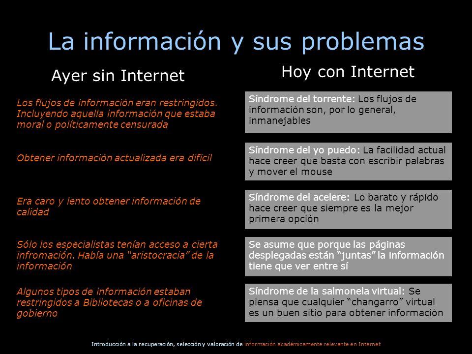 Introducción a la recuperación, selección y valoración de información académicamente relevante en Internet La información y sus problemas Síndrome de