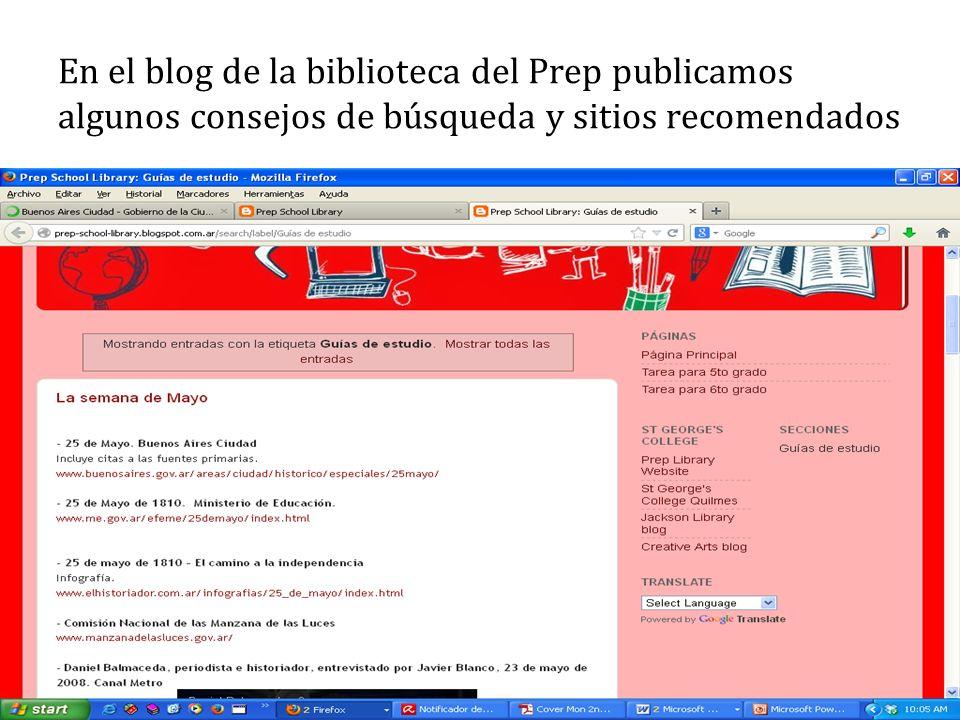 En el blog de la biblioteca del Prep publicamos algunos consejos de búsqueda y sitios recomendados