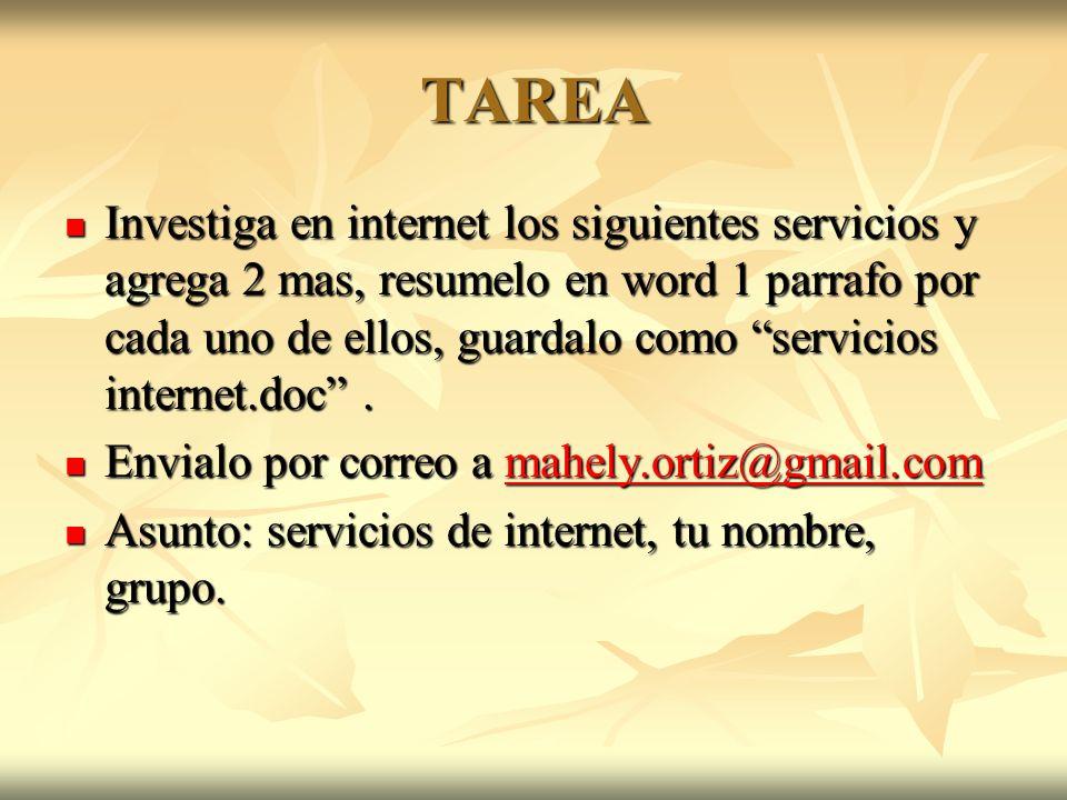 TAREA Investiga en internet los siguientes servicios y agrega 2 mas, resumelo en word 1 parrafo por cada uno de ellos, guardalo como servicios internet.doc.
