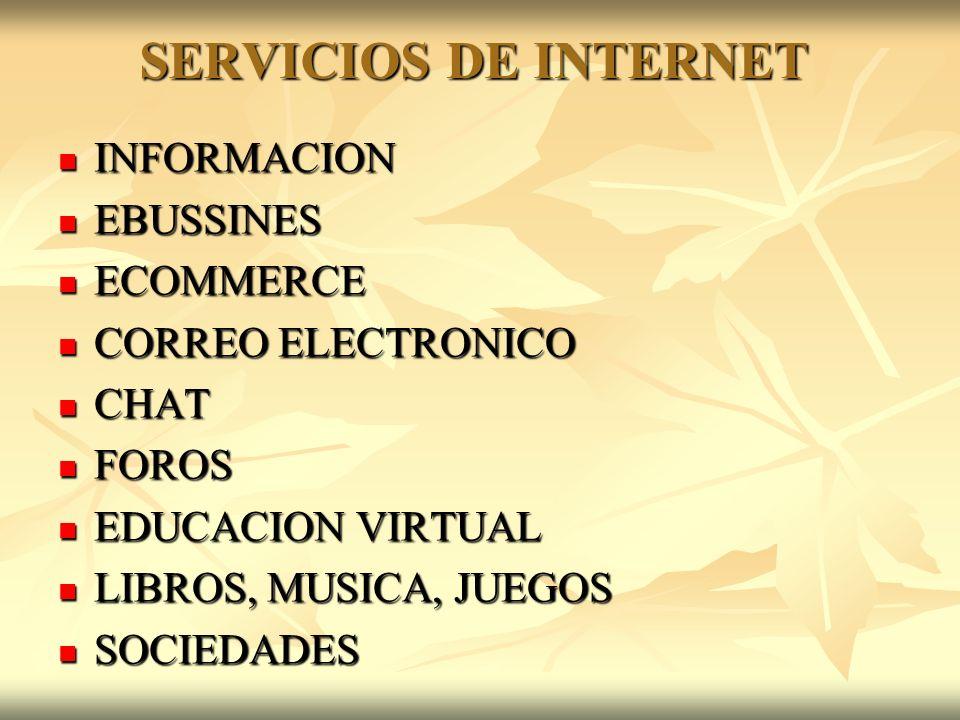 SERVICIOS DE INTERNET INFORMACION INFORMACION EBUSSINES EBUSSINES ECOMMERCE ECOMMERCE CORREO ELECTRONICO CORREO ELECTRONICO CHAT CHAT FOROS FOROS EDUCACION VIRTUAL EDUCACION VIRTUAL LIBROS, MUSICA, JUEGOS LIBROS, MUSICA, JUEGOS SOCIEDADES SOCIEDADES