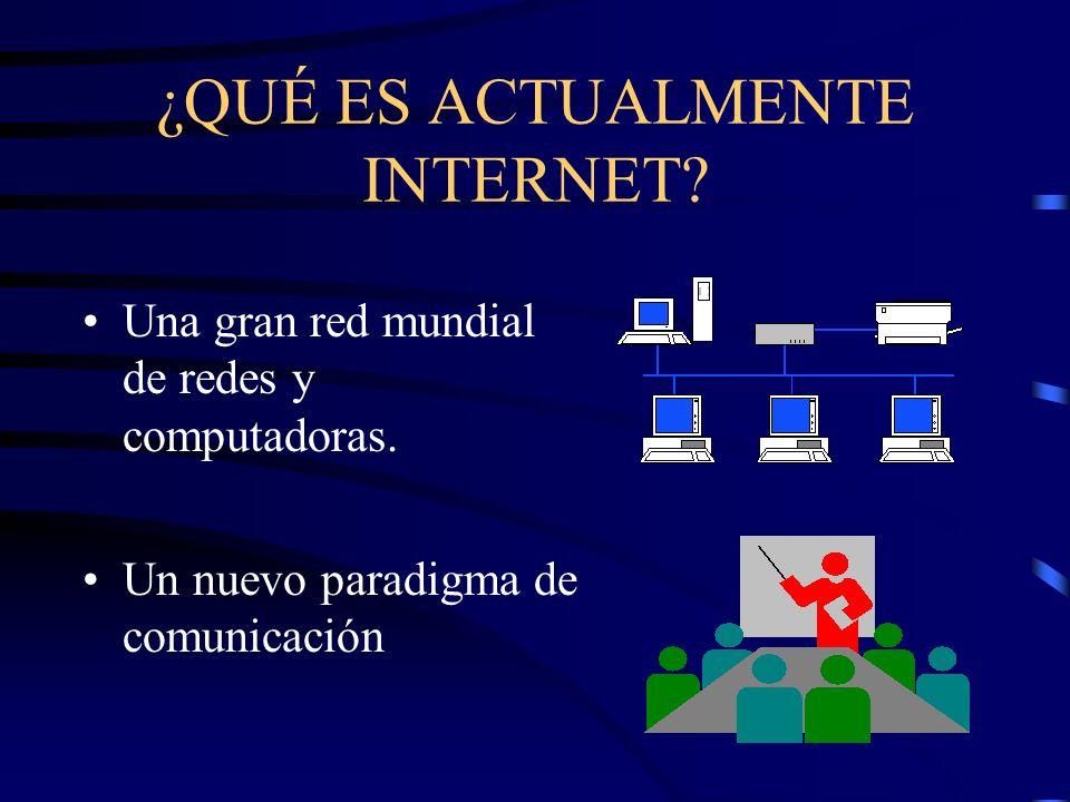 ¿QUÉ ES ACTUALMENTE INTERNET. Una gran red mundial de redes y computadoras.
