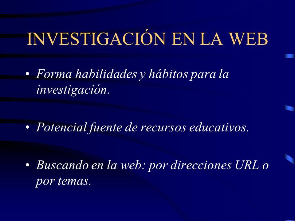 INVESTIGACIÓN EN LA WEB Forma habilidades y hábitos para la investigación.