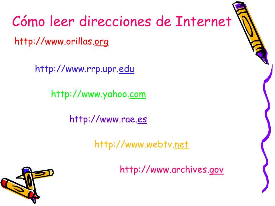 Cómo leer direcciones de Internet http://www.orillas.org http://www.rrp.upr.edu http://www.yahoo.com http://www.rae.es http://www.webtv.net http://www