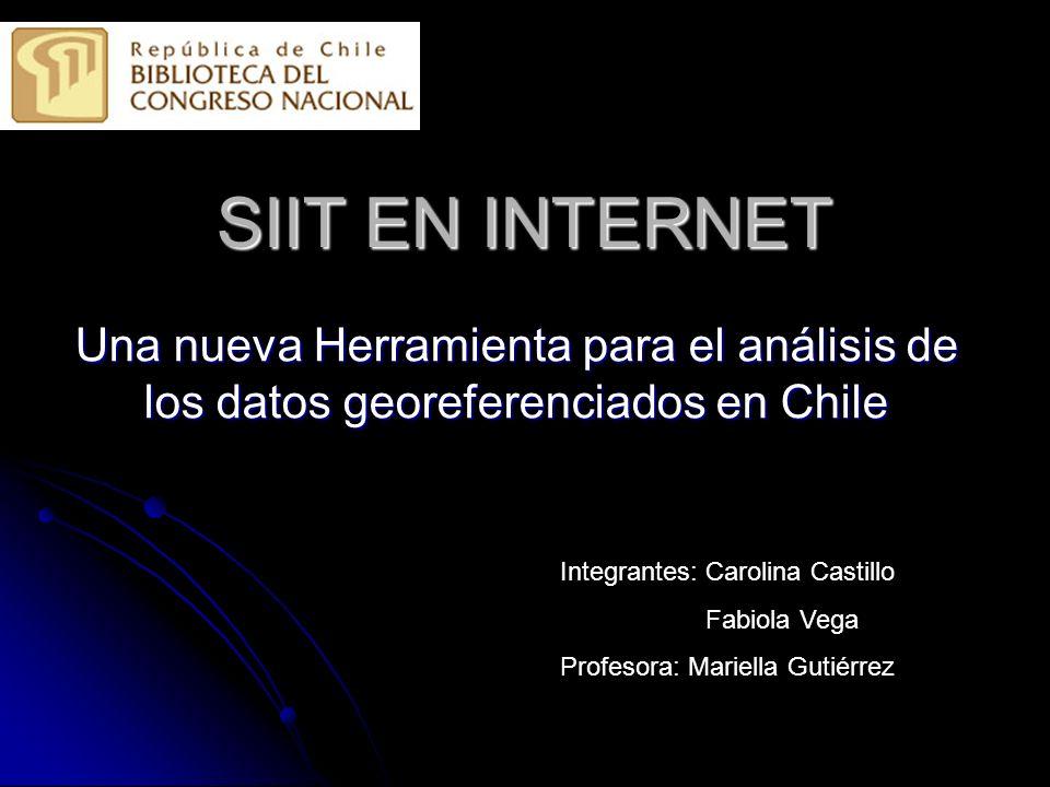 SIIT EN INTERNET Una nueva Herramienta para el análisis de los datos georeferenciados en Chile Integrantes: Carolina Castillo Fabiola Vega Profesora: Mariella Gutiérrez
