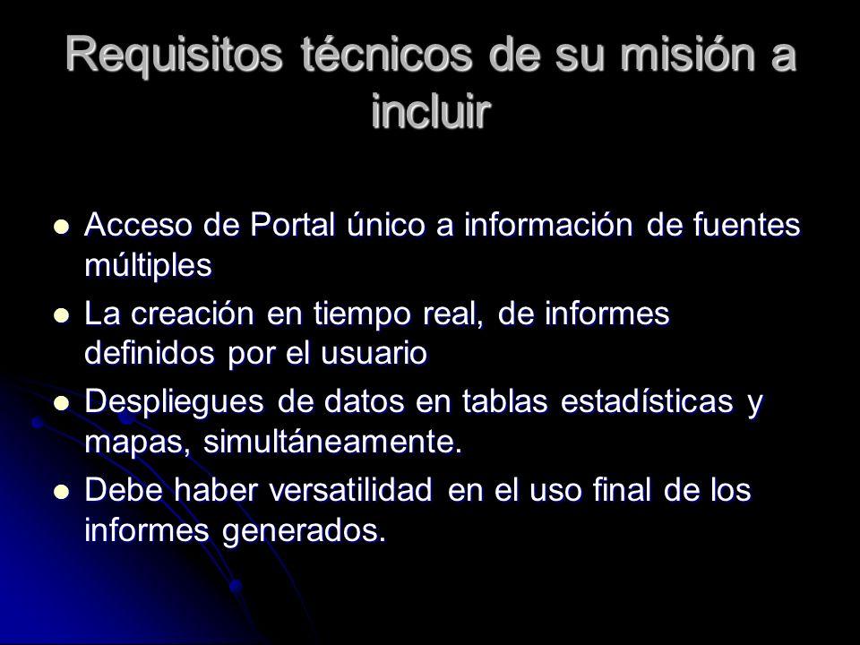 Requisitos técnicos de su misión a incluir Acceso de Portal único a información de fuentes múltiples Acceso de Portal único a información de fuentes múltiples La creación en tiempo real, de informes definidos por el usuario La creación en tiempo real, de informes definidos por el usuario Despliegues de datos en tablas estadísticas y mapas, simultáneamente.
