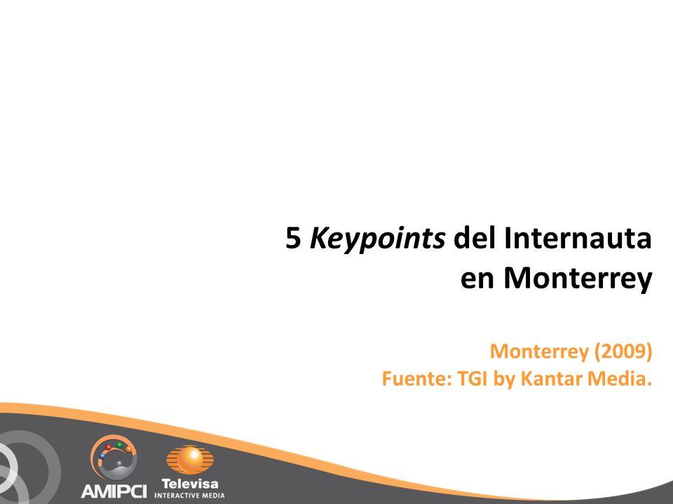 5 Keypoints del Internauta en Monterrey Monterrey (2009) Fuente: TGI by Kantar Media.