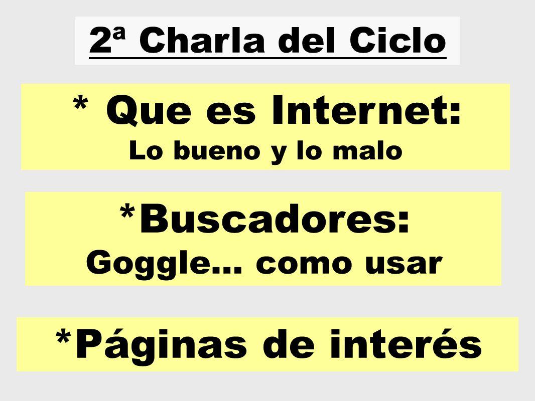 2ª Charla del Ciclo * Que es Internet: Lo bueno y lo malo *Buscadores: Goggle… como usar *Páginas de interés