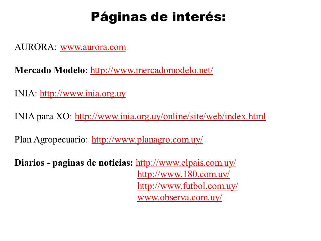 Páginas de interés: AURORA: www.aurora.comwww.aurora.com Mercado Modelo: http://www.mercadomodelo.net/http://www.mercadomodelo.net/ INIA: http://www.i