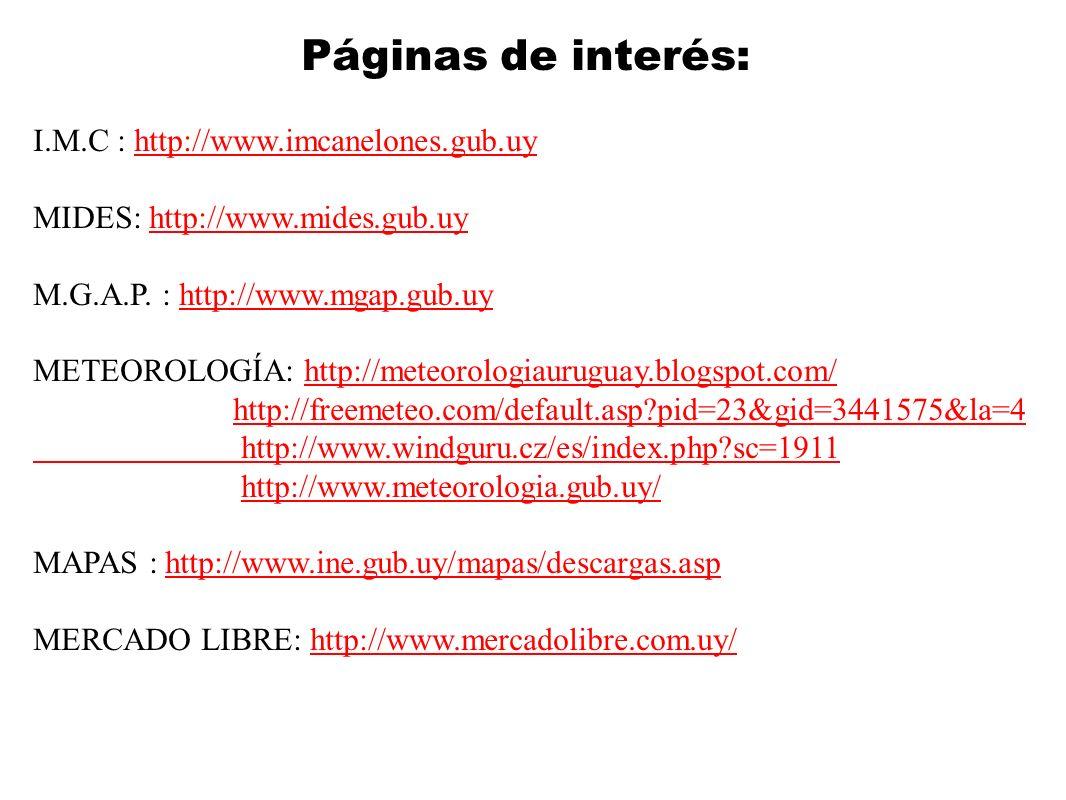 Páginas de interés: I.M.C : http://www.imcanelones.gub.uyhttp://www.imcanelones.gub.uy MIDES: http://www.mides.gub.uyhttp://www.mides.gub.uy M.G.A.P.
