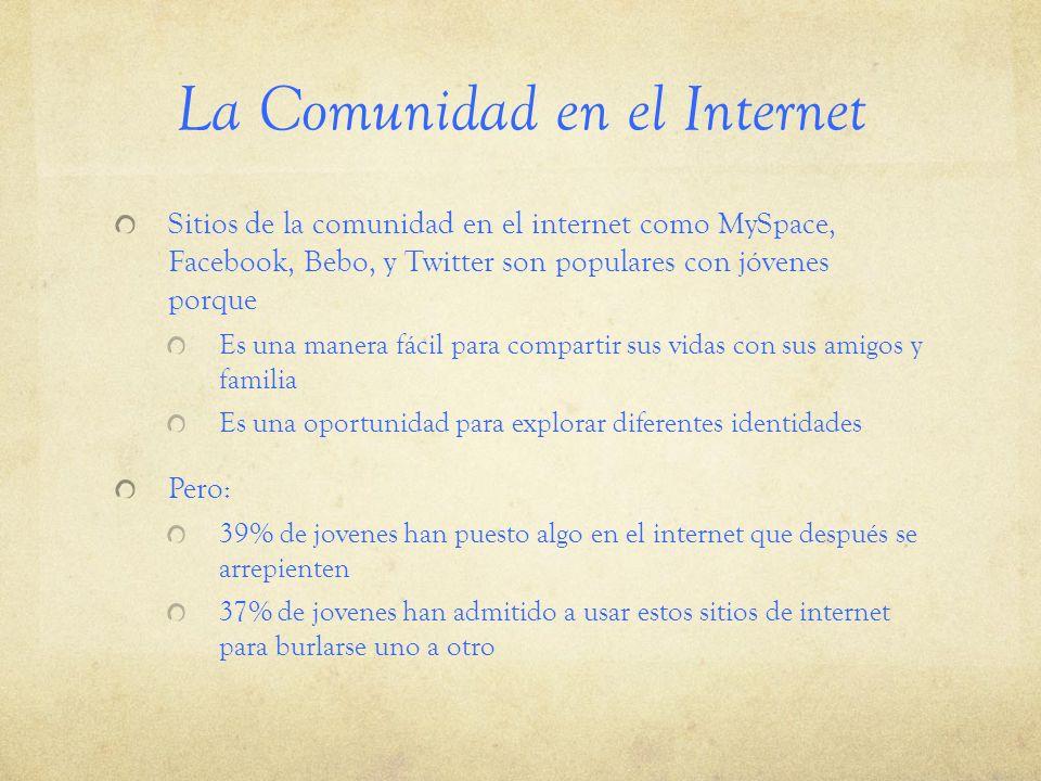 La Comunidad en el Internet Sitios de la comunidad en el internet como MySpace, Facebook, Bebo, y Twitter son populares con jóvenes porque Es una mane