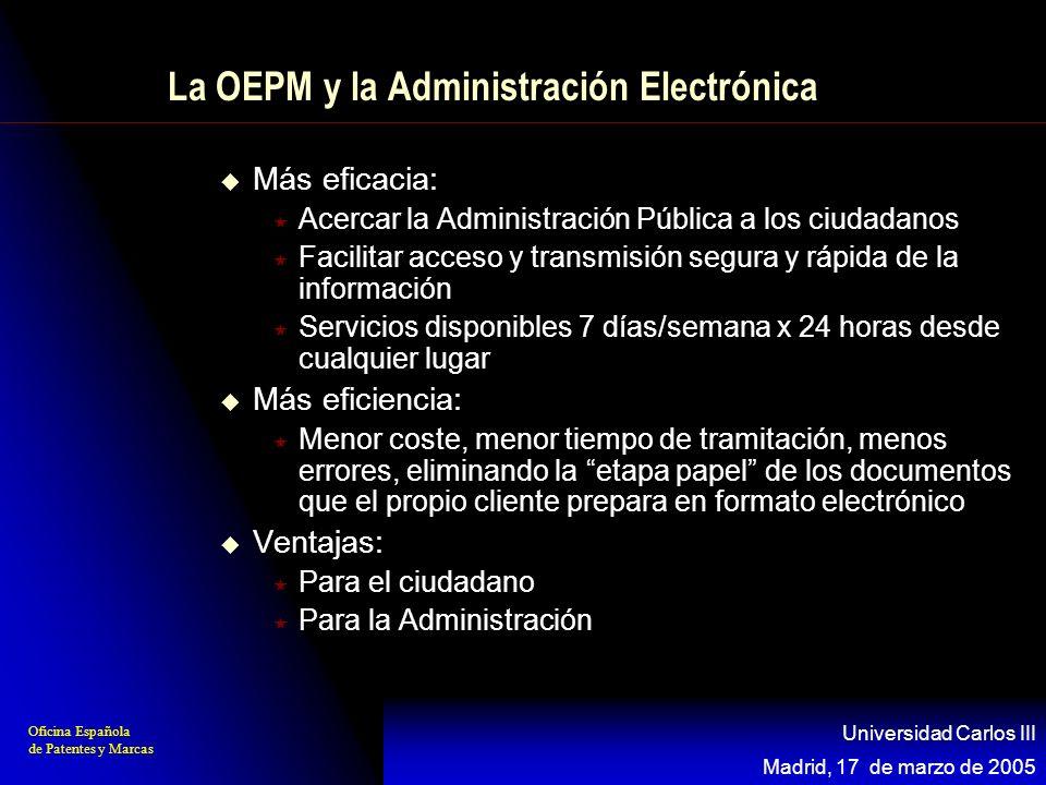 Oficina Española de Patentes y Marcas Madrid, 17 de marzo de 2005 Universidad Carlos III La OEPM y la Administración Electrónica Más eficacia: Acercar