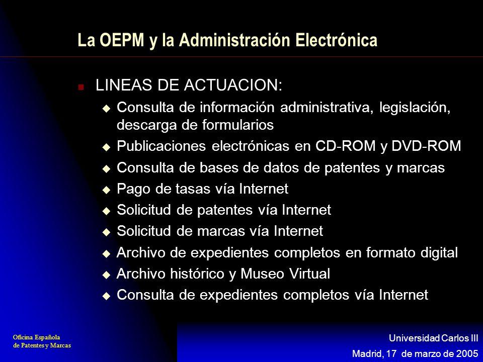 Oficina Española de Patentes y Marcas Madrid, 17 de marzo de 2005 Universidad Carlos III La OEPM y la Administración Electrónica LINEAS DE ACTUACION: