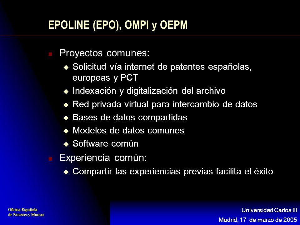 Oficina Española de Patentes y Marcas Madrid, 17 de marzo de 2005 Universidad Carlos III EPOLINE (EPO), OMPI y OEPM Proyectos comunes: Solicitud vía i