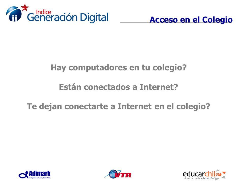 Acceso en el Colegio Hay computadores en tu colegio? Están conectados a Internet? Te dejan conectarte a Internet en el colegio?