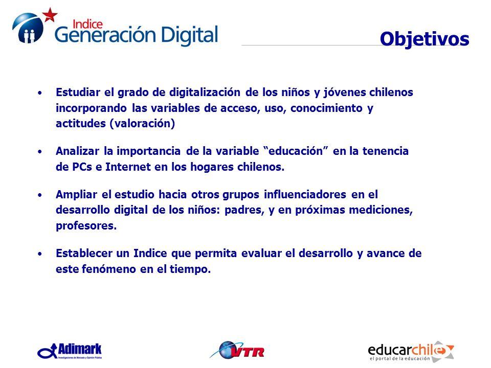 Objetivos Estudiar el grado de digitalización de los niños y jóvenes chilenos incorporando las variables de acceso, uso, conocimiento y actitudes (val