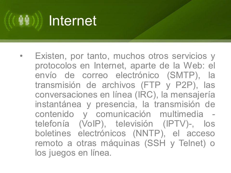 Internet Existen, por tanto, muchos otros servicios y protocolos en Internet, aparte de la Web: el envío de correo electrónico (SMTP), la transmisión