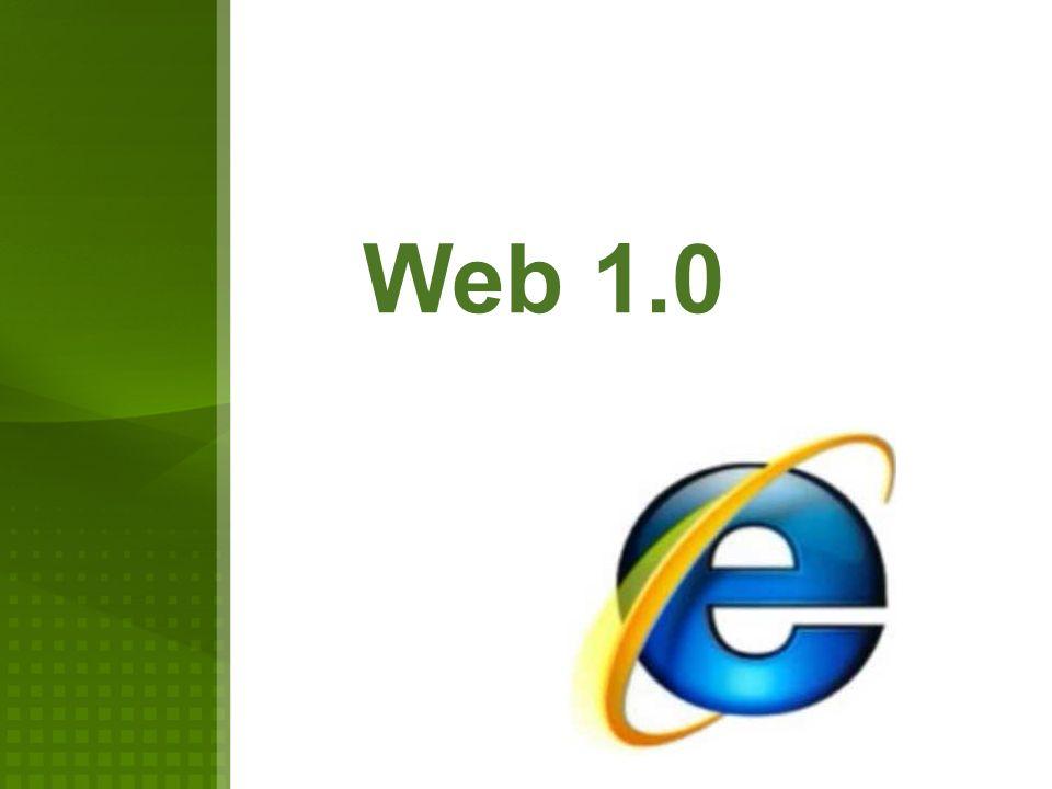 La Web 1.0 empezó en los años 60 s De la forma más básica que existe, con navegadores de solo texto, como ELISA, bastante rápidos, después surgió el HTML (Hyper Text Markup Language) que hizo las páginas web más agradables a la vista y los primeros navegadores visuales como IE, Netscape, entre otros.