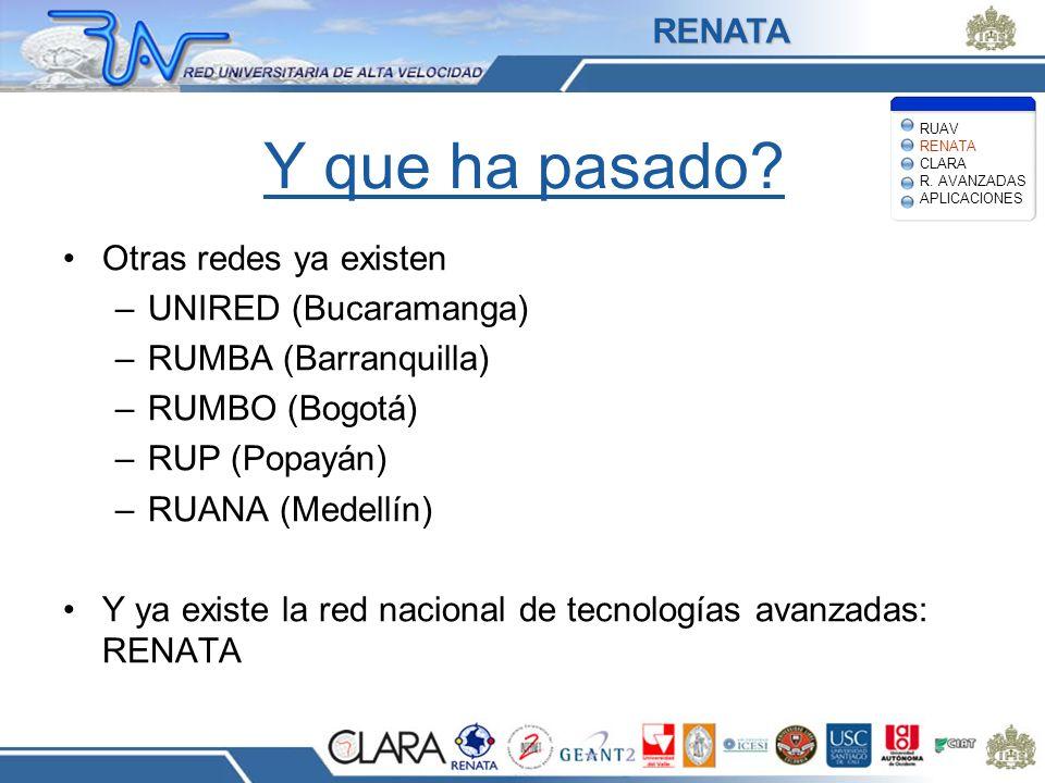 Y que ha pasado? Otras redes ya existen –UNIRED (Bucaramanga) –RUMBA (Barranquilla) –RUMBO (Bogotá) –RUP (Popayán) –RUANA (Medellín) Y ya existe la re