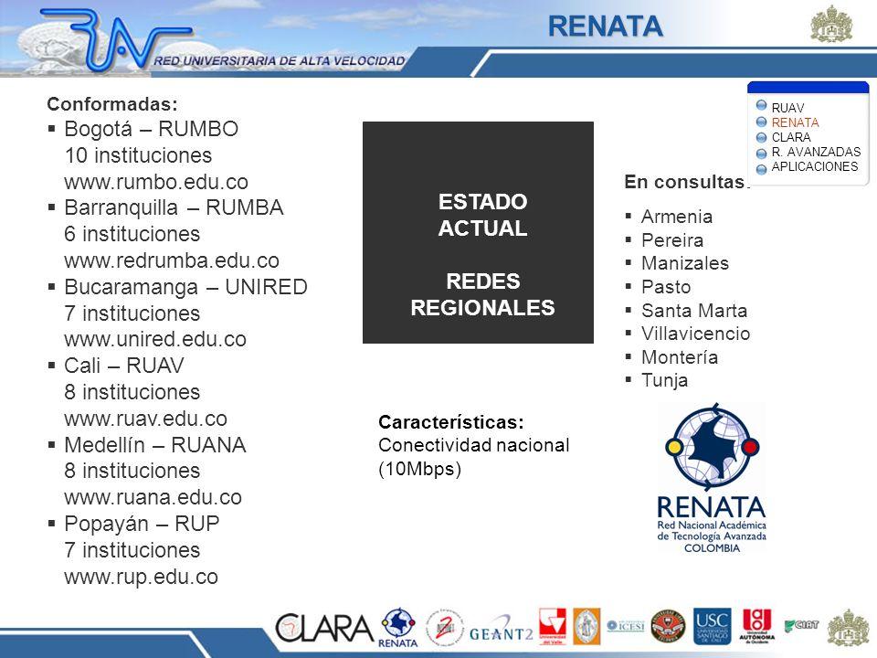 Conformadas: Bogotá – RUMBO 10 instituciones www.rumbo.edu.co Barranquilla – RUMBA 6 instituciones www.redrumba.edu.co Bucaramanga – UNIRED 7 instituc