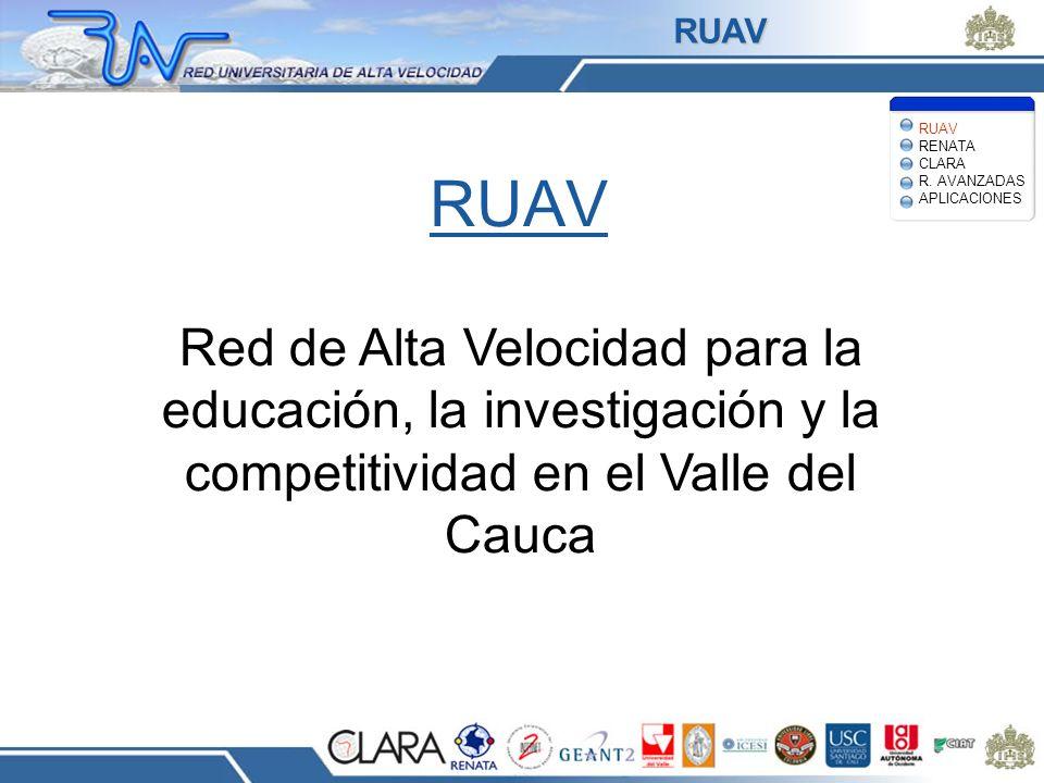 RUAV Red de Alta Velocidad para la educación, la investigación y la competitividad en el Valle del Cauca RUAV RENATA CLARA R. AVANZADAS APLICACIONES R