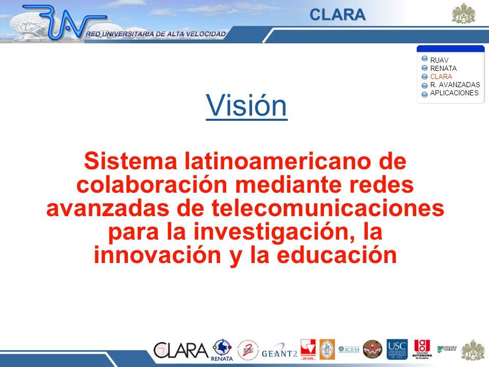 Visión Sistema latinoamericano de colaboración mediante redes avanzadas de telecomunicaciones para la investigación, la innovación y la educación RUAV