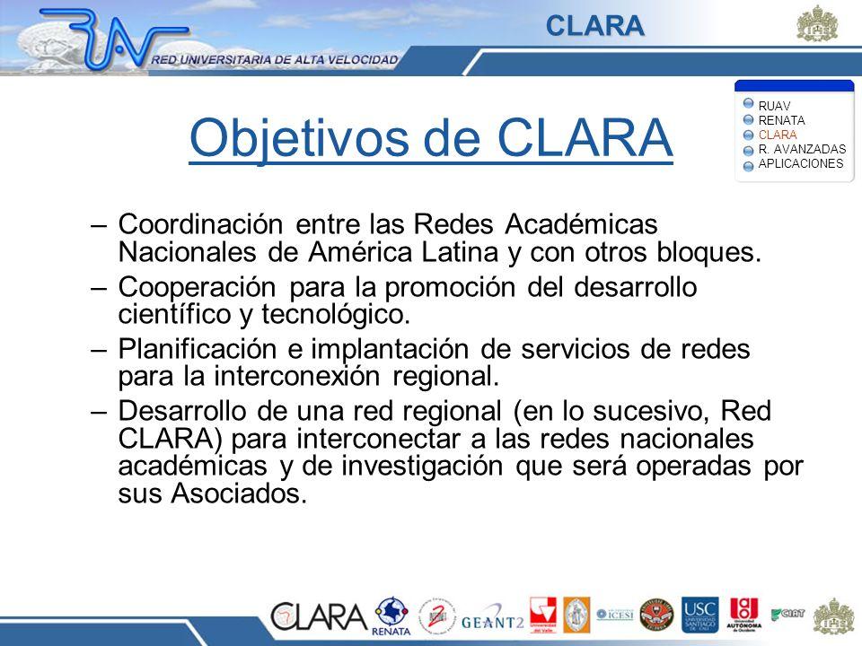 Objetivos de CLARA –Coordinación entre las Redes Académicas Nacionales de América Latina y con otros bloques. –Cooperación para la promoción del desar