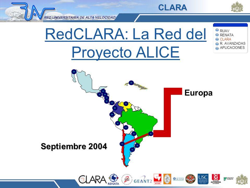 RedCLARA: La Red del Proyecto ALICE Europa Septiembre 2004 RUAV RENATA CLARA R. AVANZADAS APLICACIONES CLARA