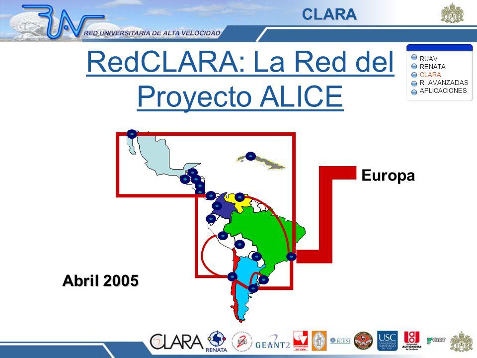 RedCLARA: La Red del Proyecto ALICE Europa Abril 2005 RUAV RENATA CLARA R. AVANZADAS APLICACIONES CLARA