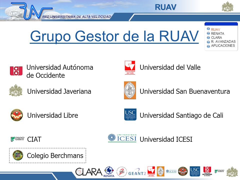 Examples Network for Earthquake Engineering Simulation – Collaboration environment for earthquake researchers (e.g., structural engineers, geotechnical and tsunami scientists) Grid Physics Network –Petabyte scale environment for data- intensive applications –Other shared sensor applications (highway/freeway management) APLICACIONES RUAV RENATA CLARA R.