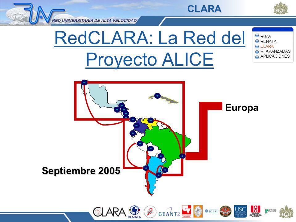RedCLARA: La Red del Proyecto ALICE Europa Septiembre 2005 RUAV RENATA CLARA R. AVANZADAS APLICACIONES CLARA