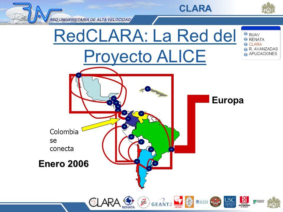 RedCLARA: La Red del Proyecto ALICE Europa Enero 2006 Colombia se conecta RUAV RENATA CLARA R. AVANZADAS APLICACIONES CLARA