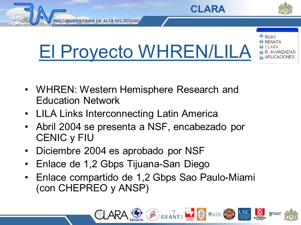 El Proyecto WHREN/LILA WHREN: Western Hemisphere Research and Education Network LILA Links Interconnecting Latin America Abril 2004 se presenta a NSF,