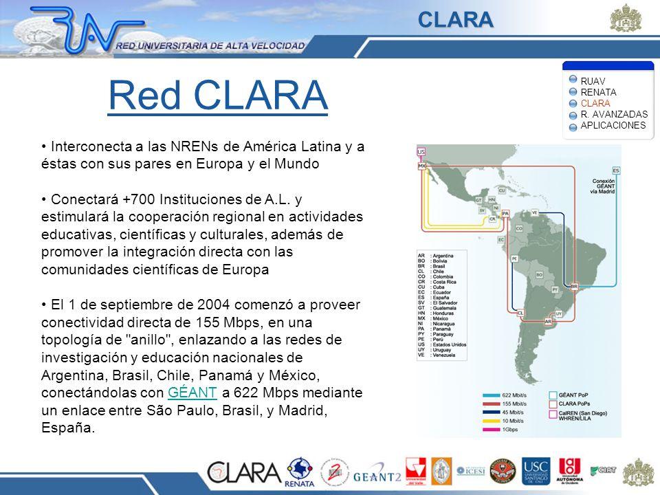 Red CLARA Interconecta a las NRENs de América Latina y a éstas con sus pares en Europa y el Mundo Conectará +700 Instituciones de A.L. y estimulará la