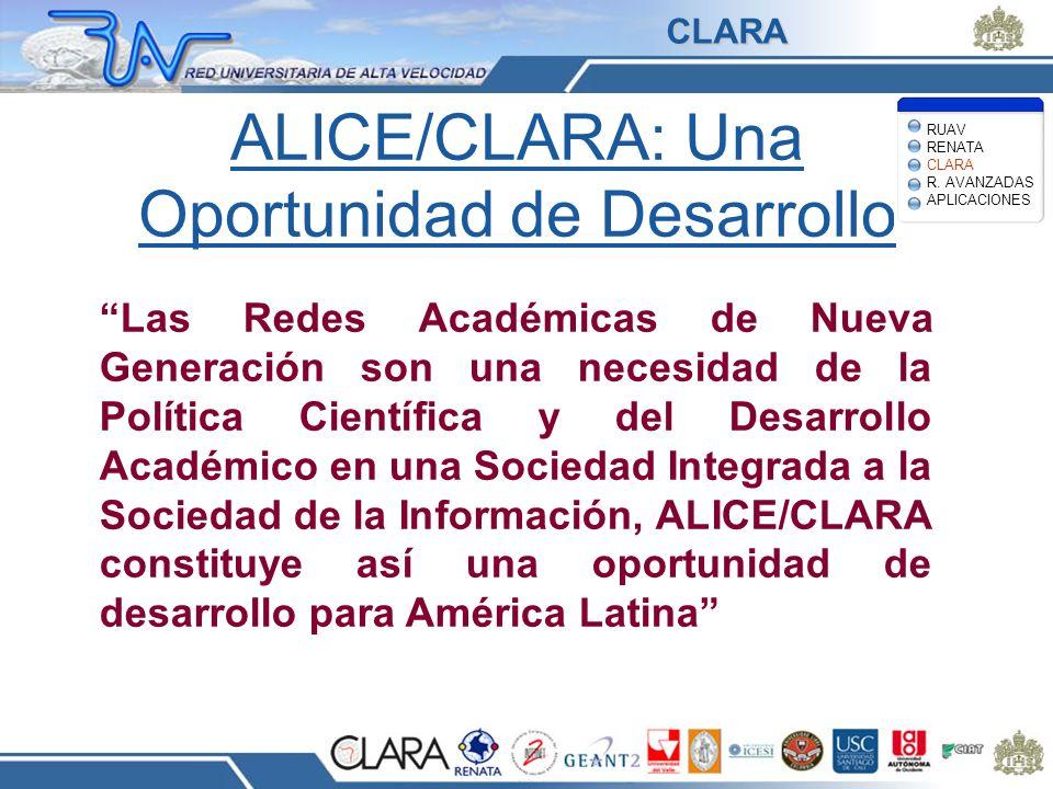 ALICE/CLARA: Una Oportunidad de Desarrollo Las Redes Académicas de Nueva Generación son una necesidad de la Política Científica y del Desarrollo Acadé